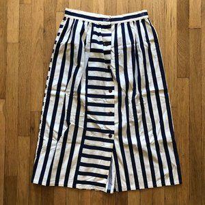 VINTAGE - Nautical Stripe Button Front Midi Skirt
